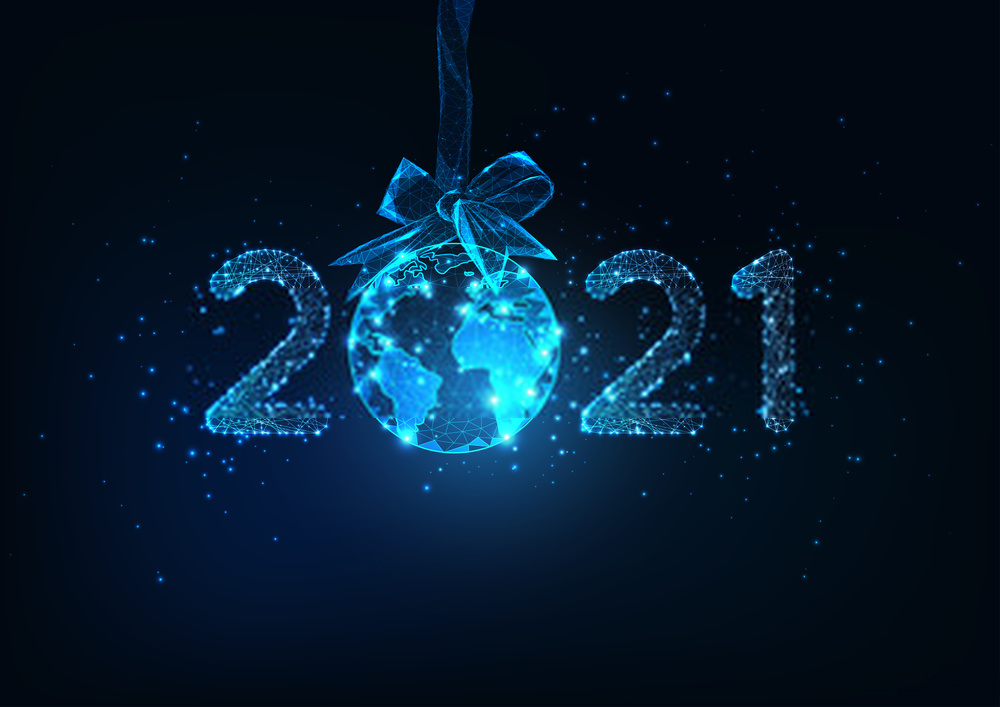 happy new year 2021 blue gift image