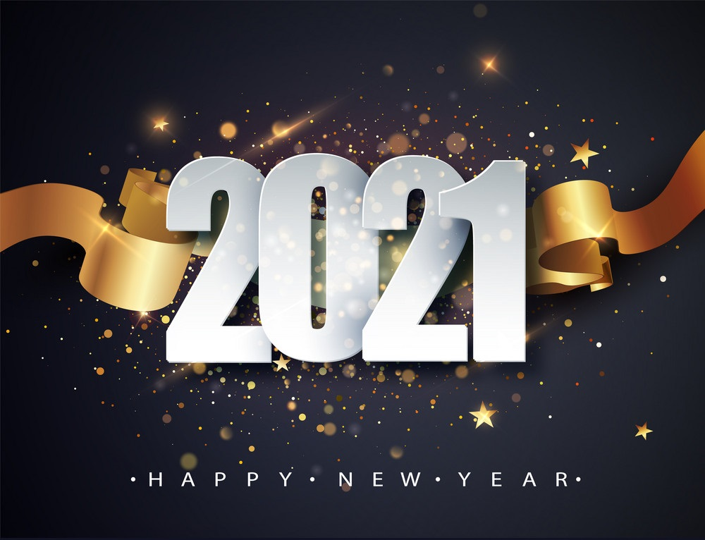 Happy new 2021 year winter image
